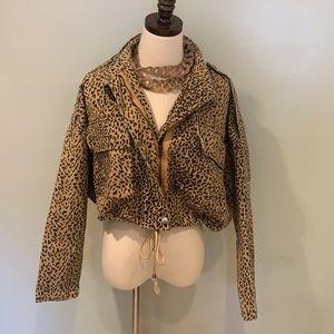 Boohoo Leopard Cropped Cotton Utility Jacket